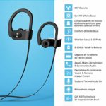 Mpow Écouteur Bluetooth Sport, Casque sans Fil Intra Auriculaire Bluetooth Etanches IPX7 Wireless Headphones avec Microphone Audio Stereo Compatible avec iPhone Android etc-Noir