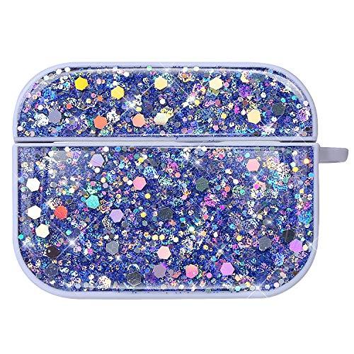 NSSTAR Compatible avec AirPods Pro Coque Étui Anti-Choc Housse Glitter Diamant Ultra Mince PC Rigide Protecteur Housse AirPods Pro Bling Brillant Strass Coque pour Filles et Femmes,Bleu