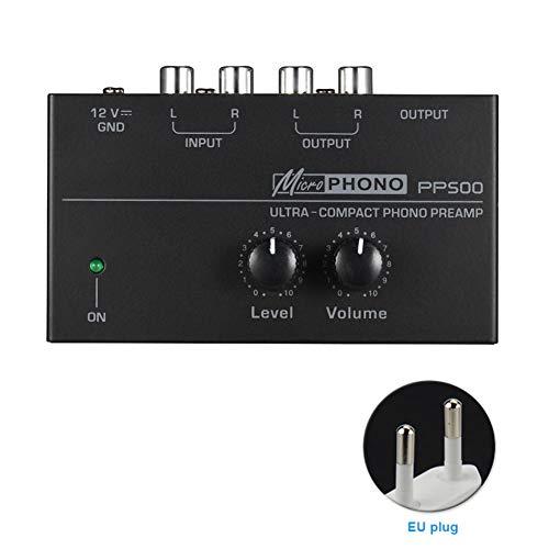 szlsl88 Préampli PP500 Interface Phonograph Préamplificateur Portable Home Audio Stereo Metal Réglage électronique du Volume de Disque avec Pegel Ultracompact (EU), N° 0, comme sur l'image, EU