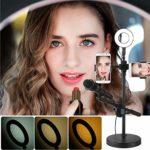 Micro StandSelfie Anneau de lumière avec support de téléphone et support de microphone 3 modes de lumière 9 niveaux de luminosité Convient pour studio de scène