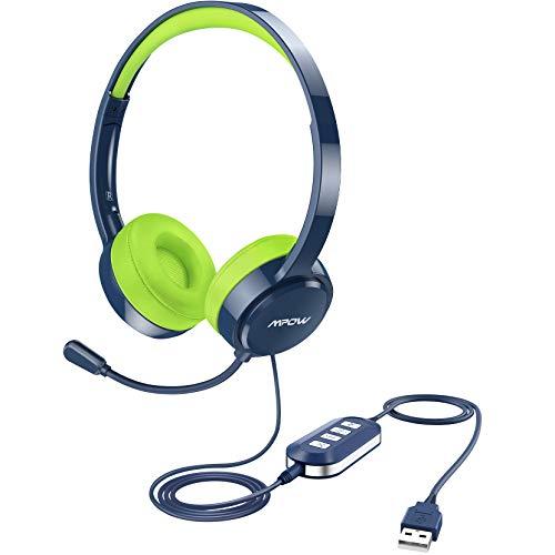 Mpow Casque USB (édition tout terrain) avec prise jack 3,5 mm, casque stéréo pour ordinateur avec microphone antibruit, coussinets confortables, contrôle du volume en ligne pour PC/ordinateur portable