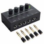 Neoteck HA400 Ampli Casque 4 canaux Ampli Casque stéréo Ultra Compact avec Adaptateur 5pcs 6.3mm (1/4 Pouce) à 3.5mm (1/8 Pouce) et Adaptateur Secteur