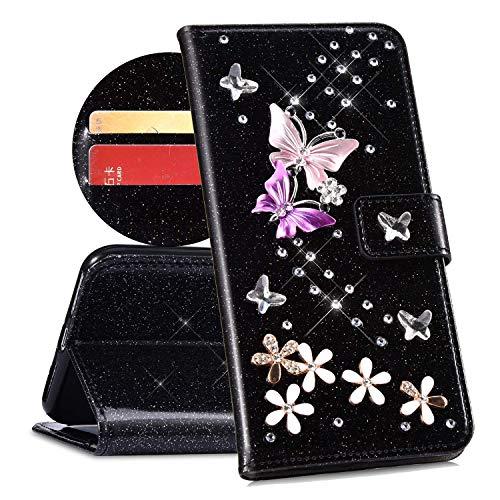 QPOLLY Compatible avec Coque Huawei Mate 10 Pro Bling Glitter 3D Diamant Portefeuille Housse à Rabat en Cuir Brillante Sparkle Étui de Protection avec Fentes de Cartes et Fonction Stand,Noir
