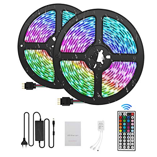 Ruban LED 10M Bande LED 300 LEDs 5050 RGB IP65, Kit Bande LED Lumineuse Multicolore Peut-Découpé Néon Decor Rubans lumières LED décoratives 44Télécommande12V 5A
