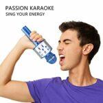 TIUENHAVU Microphone Bluetooth Wireless Handheld Karaoke Mic USB Mini Home KTV pour Music Professiona Speaker Player Singing Recorder Mic rosegoldBox