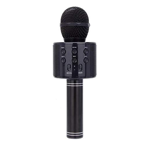 YUY Karaoké sans Fil Bluetooth Haut-Parleur Microphone De Poche Portable Audio Chant Enregistrement LED Microphone Adulte Enfant Cadeau d'anniversaire,Black