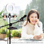 Kit de lumière à anneau avec trépied en métal + bras de perche de microphone + clip micro + support de téléphone double + pince de carte son Convient pour studio de scène