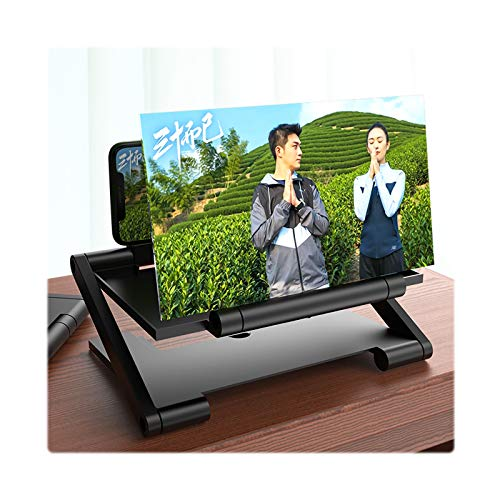Gali Amplificateur D'écran De Téléphone Portable Pliant, écran De Projecteur 3D HD Films Extensions De Jeu Vidéo Support De Bureau Prend en Charge Tous Les Smartphones(Color:Noir,Size:12 inch)