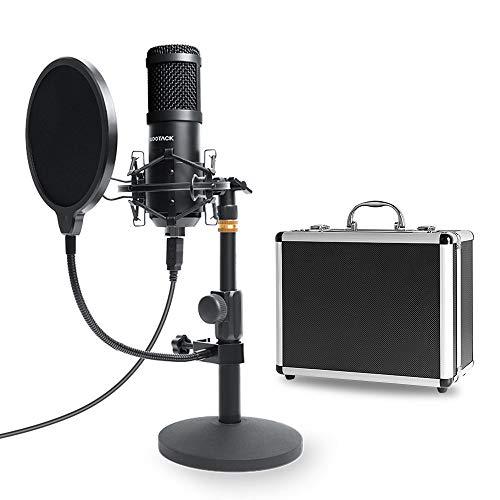 SudoTACK Kit de microphone avec boîtier de rangement en aluminium 96 kHz/24 bits pour ordinateur de bureau avec filtre anti-chocs pour enregistrement de jeux Skype Youtuber