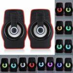 Agatige Haut-parleurs d'Ordinateur Lecteur de Musique PC Portable avec Modes d'éclairage LED Mini Haut-Parleurs Stéréo Alimentés par USB (Noir Rouge)