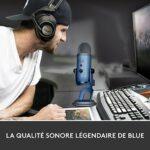 Blue Yeti Microphone USB Professionnel Pour Enregistrement, Streaming, Podcast, Diffuser, Gaming, Voix Off, et plus, Multiples Directivités, Plug 'n Play sur PC et Mac – Blue Clair