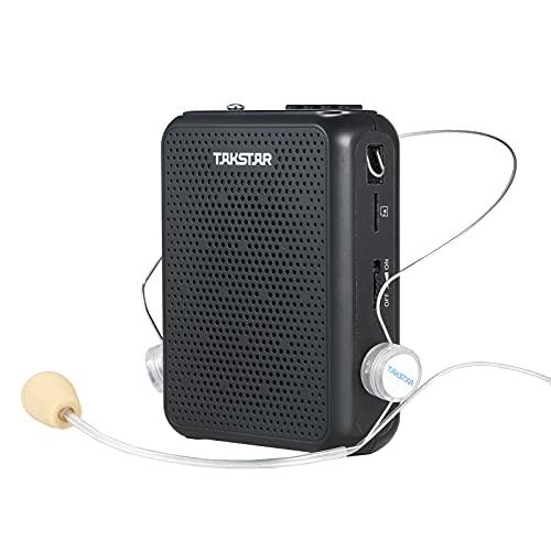 Muslady Mini Amplificateur vocal portable pour enseignants et lecteur MP3 et radio FM et enregistreur avec microphone filaire
