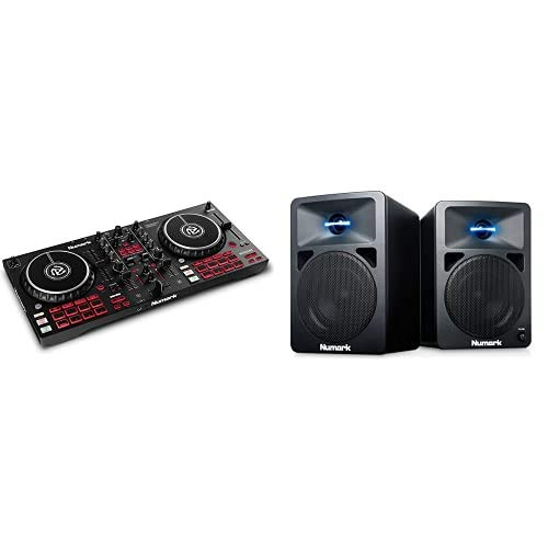 Numark Mixtrack Pro FX & N-Wave 360 – Contrôleur DJ 2 decks pour Serato DJ avec table de mixage DJ, interface audio & Enceintes monitoring DJ 60 W à Éclairage LED, Bouton de Volume