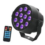 Ohomr LED scène, Noir UV par Lampe avec Son Activated télécommande 12LED Light Purple Party Disco