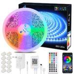 ALED LIGHT LED Ruban Lumineux Bluetooth 10 Mètres 600 leds 5050 SMD Multicolore, Bande led RGB Flexible avec Télécommande IR et Alimentation 24V pour Décoration Intérieur Chambre Fête