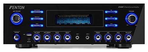 Fenton AV340BT – Amplificateur Home Cinema Bluetooth, 500W, lecteur MP3, USB, RCA, Bluetooth, idéal pour relier vos enceintes Home Cinema au téléviseur, ampli 5 canaux
