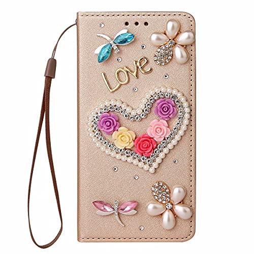 Nadoli Wallet Coque avec Diamant pour Samsung Galaxy Note 20,3D Fait Main Amour Coeur Fleur Soie Dessin Bling Pailleté Brillant Faux Cuir Dragonne Housse Étui à Rabat