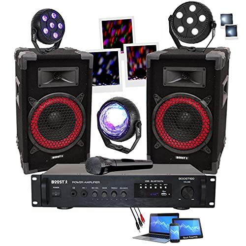 PACK SONO 360W avec Ampli + Enceintes + Micro + Câble + 3 jeux de lumière à led compacts et puissants PA DJ SONO MIX LIGHT Anniversaire Noël Fiesta