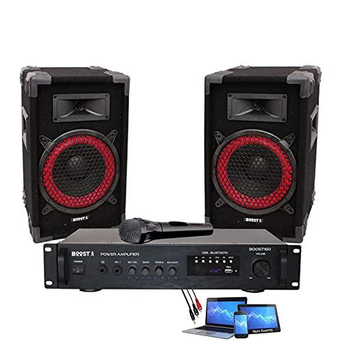 PACK SONO DJ KARAOKE BOOST150 de 360W comprenant 1 AMPLI USB BLUETOOTH + 2 ENCEINTES + CABLAGE + MICRO – PA SONO DJ BAR CLUB FIESTA FAMILLE ANNIVERSAIRE NOËL