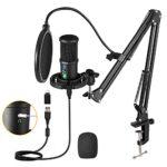 Aveek Microphone de USB à Condensateur pour PC, PS4,Mac et Téléphone, avec Muet et Suppression du Brui,Polaire cardioïde,pour Gaming, Streaming, Podcasts, Twitch, Youtube, Discord