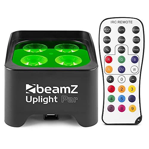 BeamZ BBP90 Projecteur UPLIGHT par– 4 x LED RGB-UV, 4W par LED, Modes DMX ou Stand-Alone, Fonction Master/Slave, Batterie de 20 Heures intégrée, Parfait pour éclairage de Salle ou Architecture