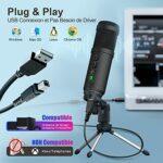 Microphone à Condensateur USB, UNBON Kit Micro Condensateur Cardioïde USB avec Support pour Ordinateur MAC Windows Microphone PC pour Enregistrement Studio Gaming Streaming Podcast YouTube Voix Off