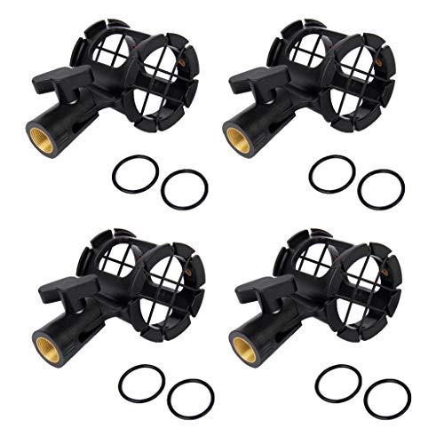 Sharplace Clip de Support de Montage Antichoc Universel Noir pour Microphone, 4 Pièces