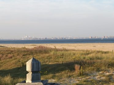 NYC skyline from an observation deck on Sandy Hook.