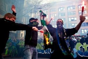 ECS members burning a TA scarf after a Portland match.