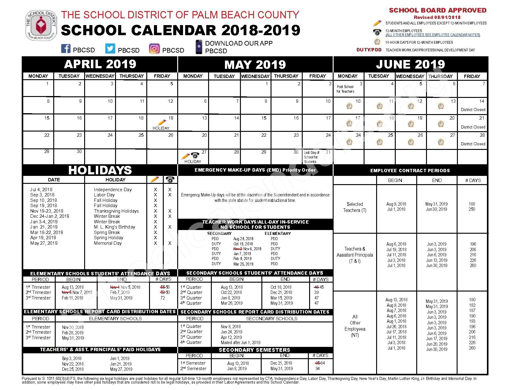 2018 2019 District Calendar Palm Beach County School