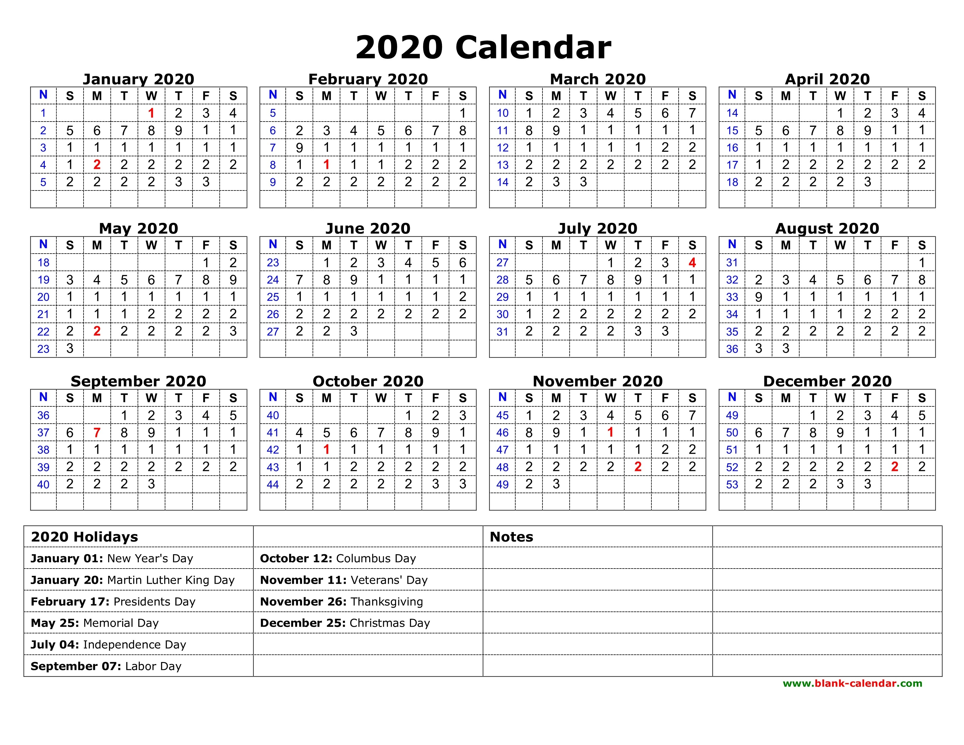 Printable Yearly Calendar With Holidays Free Download