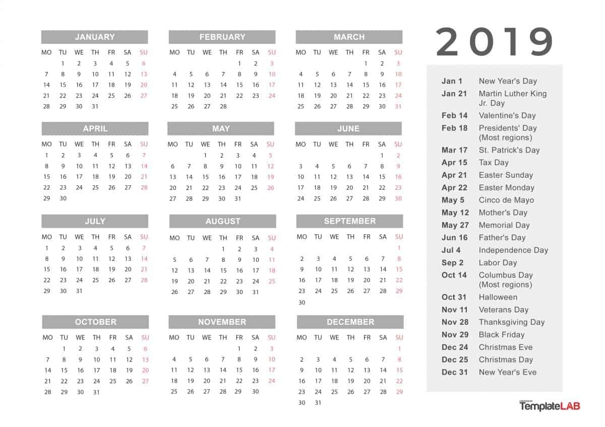 Printable Calendar 2019 With Notes Yearly Editor Theme