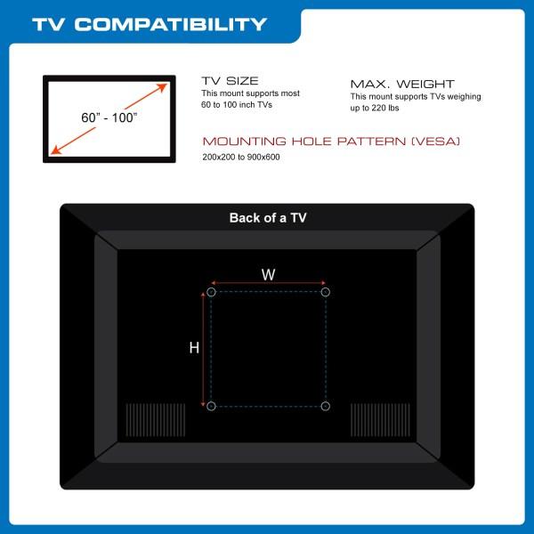 Qualgear Heavy Duty Tilting Tv Wall Mount 60-100 Flat Panel And Curved Tvs Black Qg