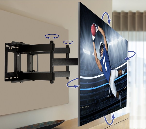Qualgear Heavy Duty Full Motion Tv Wall Mount 60-100 Flat Panel And Curved Tvs Black