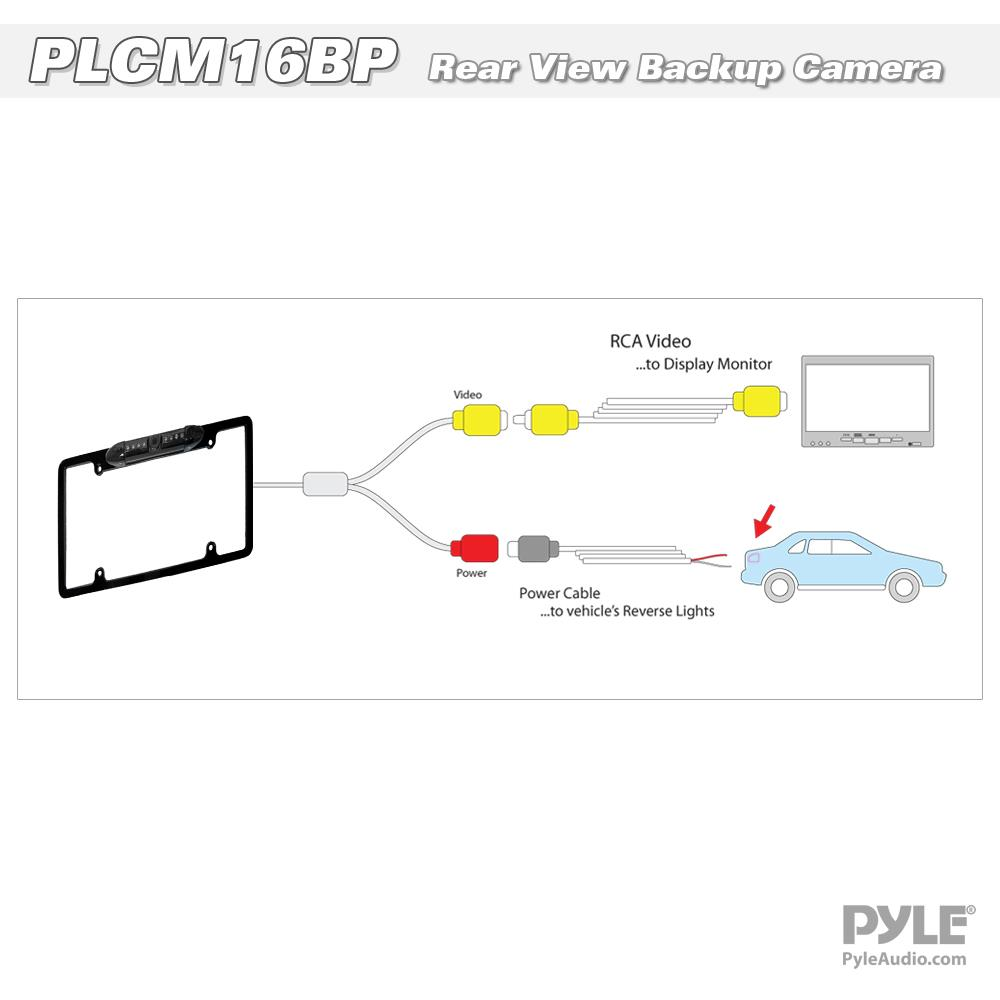 hight resolution of new pyle plcm16bp waterproof night vision license plate rear view rh ebay com pyle plmrlewb47bb wiring diagrams boss marine stereo wiring diagram