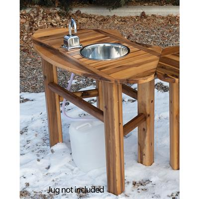 outdoor mud table with tap and sink curved