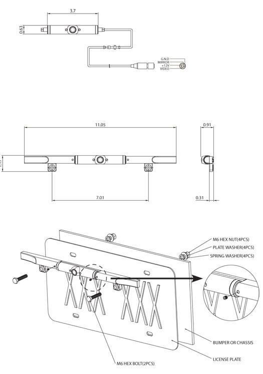 Boyo VTL405 Ultra-Slim Metal Bar Type License Plate Camera