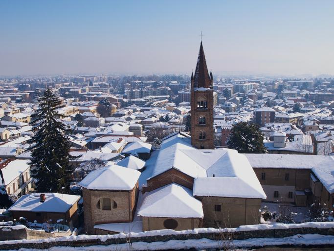 Antica Collegiata e campanile di Santa MAria della Stella, Rivoli, Turin, Piedmont, Italy.