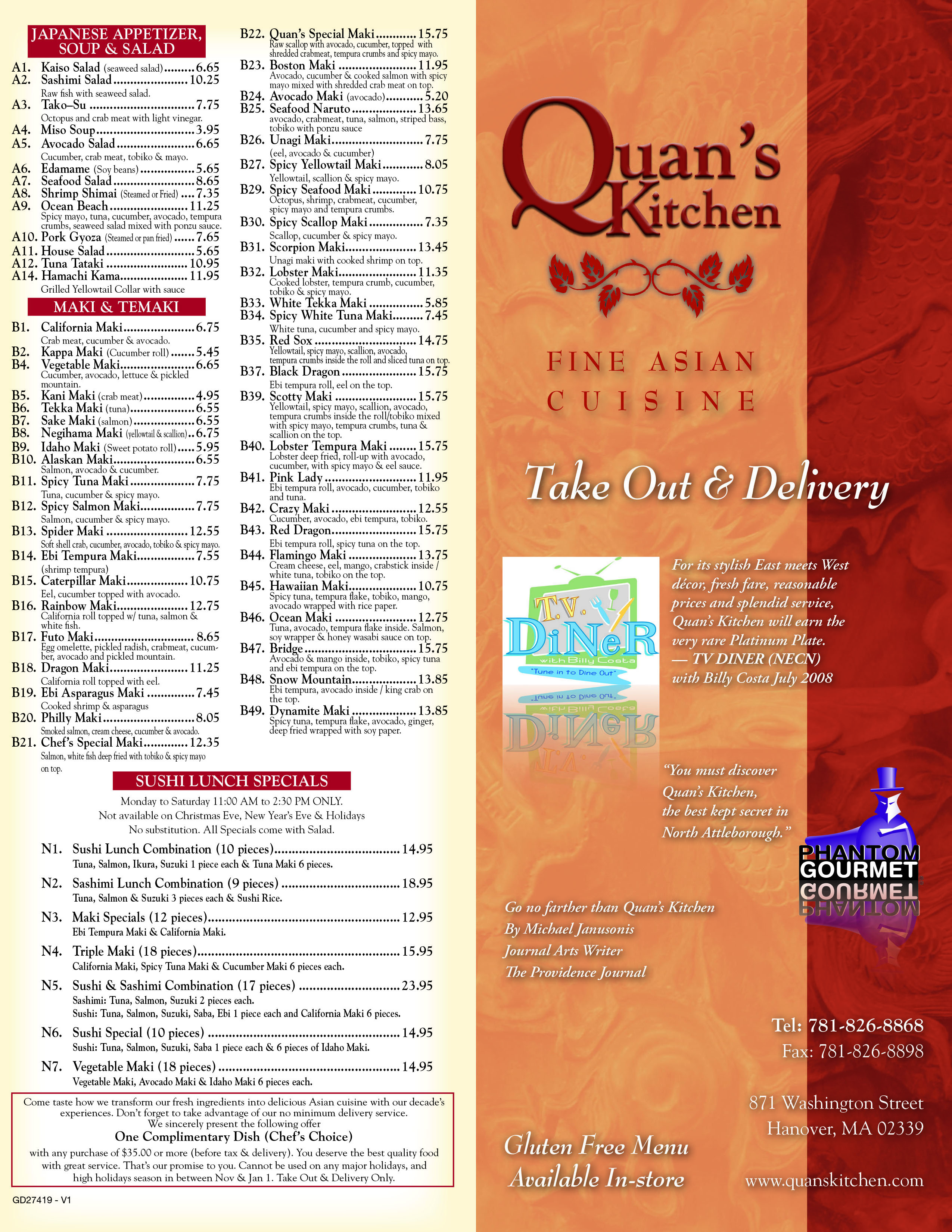 Quans Kitchen Fine Asian  Hanover Take Out Menu