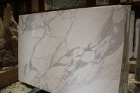 Bianco Statuario Venato slab for bathroom wall