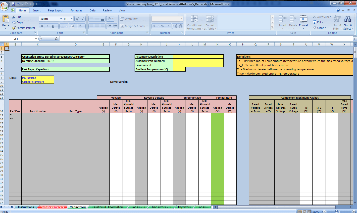 Stress Derating Spreadsheet Calculator Quanterion Solutions Incorporated