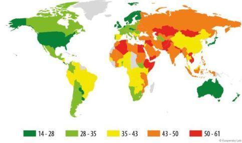 En 2015, España fue el país más afectado de Europa por los ciberataques. Fuente: KASPERSKY LAB