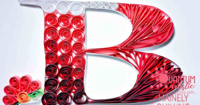 Pink Quilled Letter B Monogram | Coils & Loops