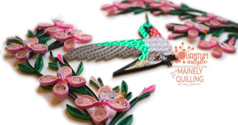 Quilled Hummingbird with Gaura