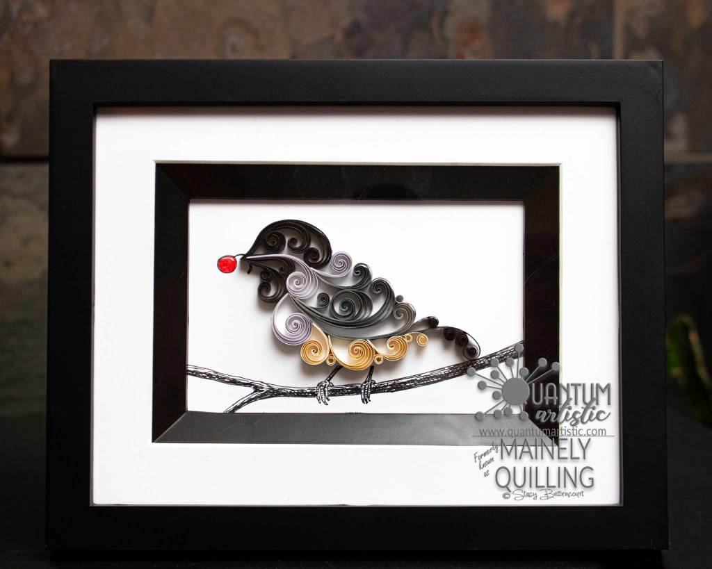 Paper Quilled Scrollwork Chickadee