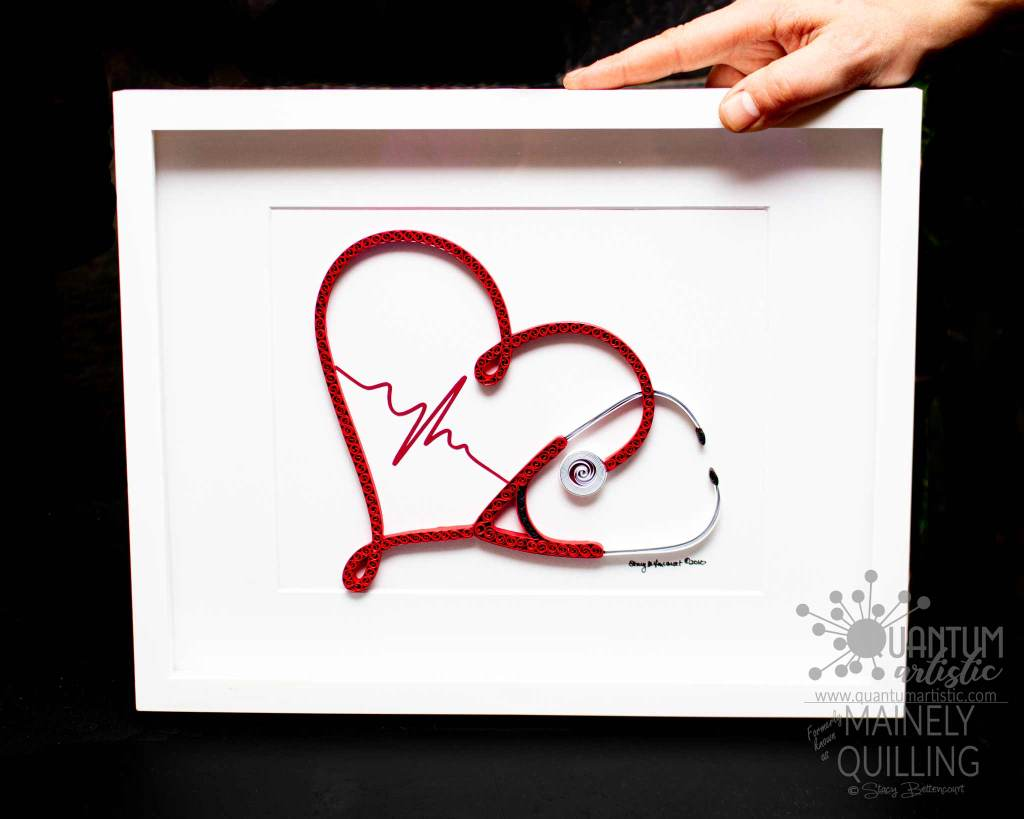 Paper Quilled Heart Stethoscope