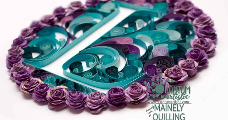 Rose and Swirl Quilled Monogram | Purple & Teal