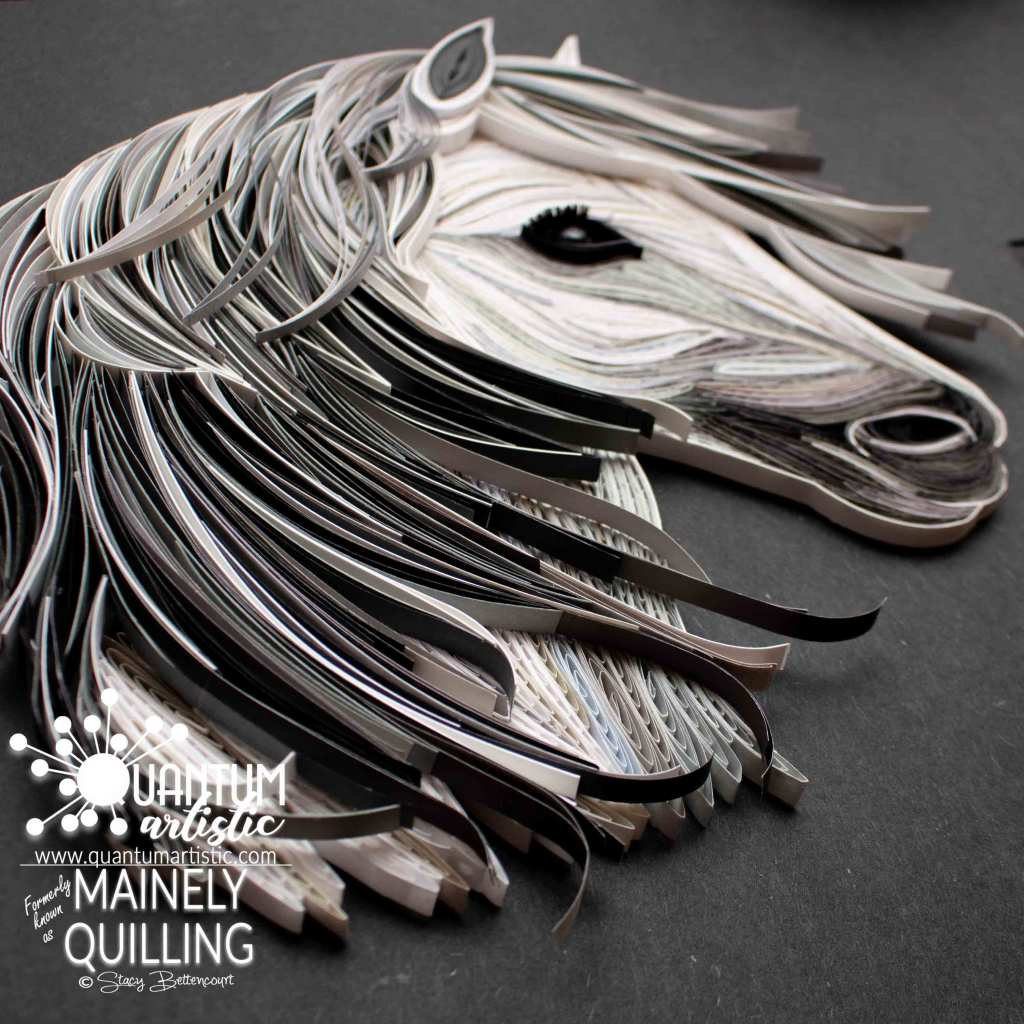 Paper Quilled White Pony