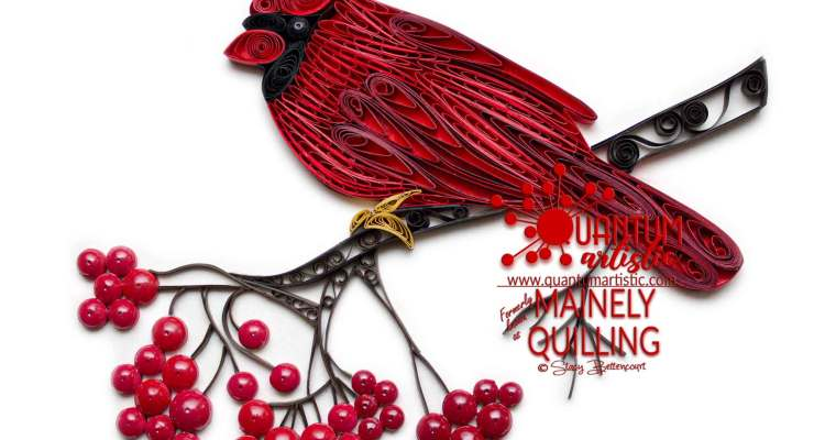 Paper Quilled Northern Cardinal | With Shiny Berries