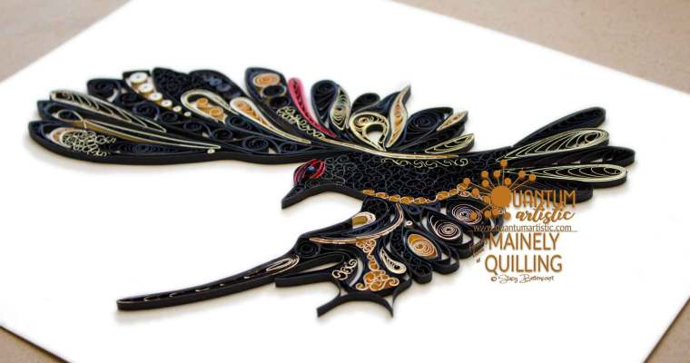 Paper Quilled Dove in Flight | Gold Gilded